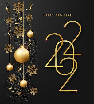 2022 새해 복 많이 받으세요 인사말 카드 또는 배너 템플릿입니다. 검은 배경에 빛나는 눈송이와 색종이가 있는 황금 금속 숫자 2022
