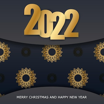 2022 happy new year greeting card template black color luxury golden pattern