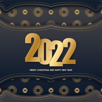 2022 happy new year greeting card template black color with winter gold pattern