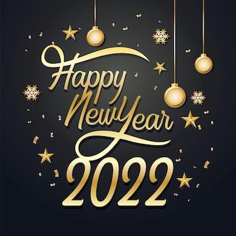 Поздравительная открытка с новым годом 2022 с золотым конфетти золотой и черный дизайн празднования роскошь