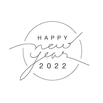 2022 happy new year logo background with script text hand lettering on white background, minimal style. vector illustration. design template celebration typography poster, banner, or greeting card.