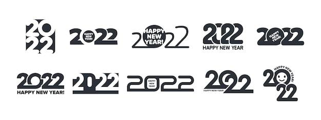 2022年明けましておめでとうございますロゴ異なるタイポグラフィデザインテンプレートセット白で隔離
