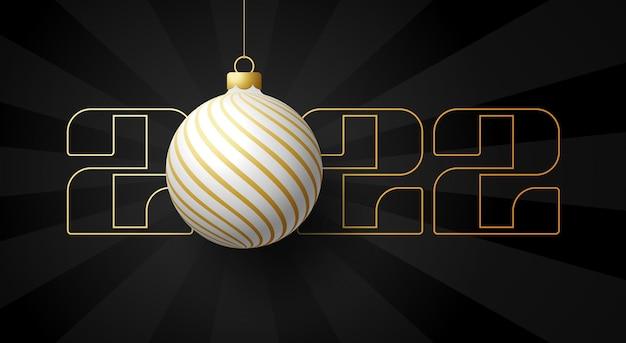 С новым 2022 годом. роскошная открытка с бело-золотым елочным шаром на королевском черном фоне. векторная иллюстрация