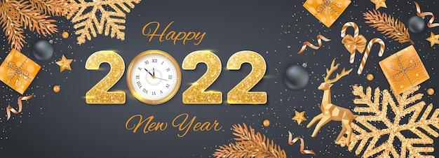 2022 с новым годом счастливого рождества фон баннер флаер открытка праздничный вектор с реалистичным