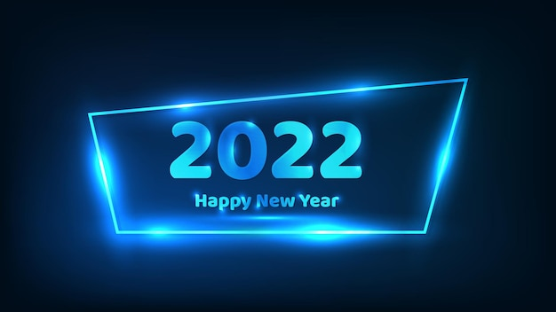 2022 새해 복 많이 받으세요 네온 배경입니다. 크리스마스 휴일 인사말 카드, 전단지 또는 포스터에 빛나는 효과가 있는 네온 프레임. 벡터 일러스트 레이 션
