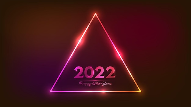 2022年明けましておめでとうネオンの背景。クリスマスホリデーグリーティングカード、チラシ、ポスター用の輝く効果のあるネオン三角フレーム。ベクトルイラスト