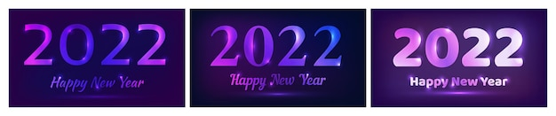 2022 새해 복 많이 받으세요 네온 배경입니다. 크리스마스 휴일 인사말 카드, 전단지 또는 포스터용 조명이 있는 3개의 추상 네온 배경 세트. 벡터 일러스트 레이 션