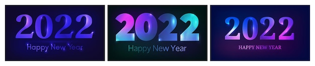2022 happy new year neon background. set of three abstract neon backdrops with lights for christmas holiday greeting card, flyers or posters. vector illustration