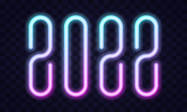 2022 happy new year neon text. 2022 new year design template for seasonal flyers and greetings card or christmas themed invitations. light banner. vector illustration.
