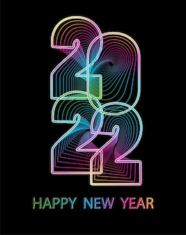 2022 happy new year. numbers abstract style. vector linear numbers. design of greeting card. vector illustration