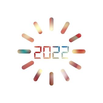 2022년 새해 복 많이 받으세요. 숫자 디지털 스타일입니다. 벡터 선형 숫자입니다. 인사말 카드의 디자인입니다. 벡터 일러스트 레이 션. 무료 벡터