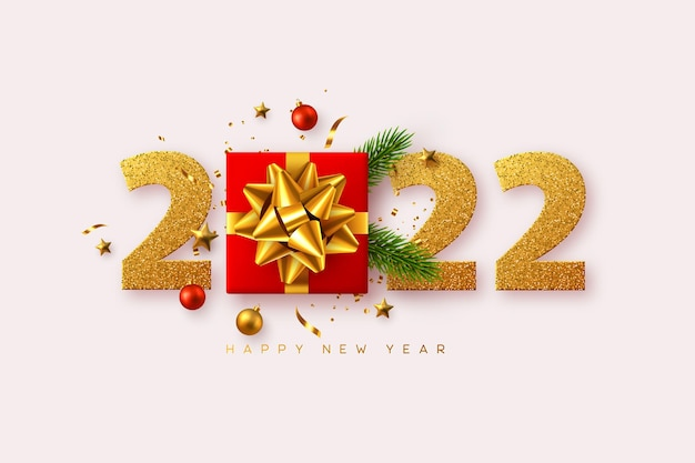 2022 happy new year. realistic gift box with decorative elements and glitter numbers on white background. vector illustration.
