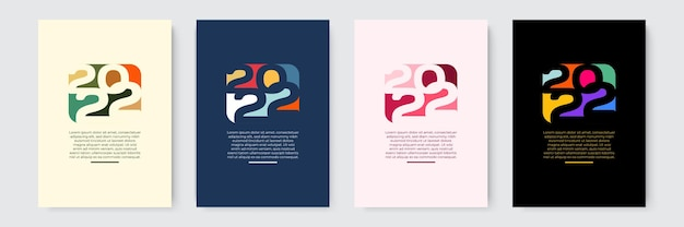 2022 happy new year набор векторных иллюстраций шаблоны дизайна с логотипом 2022 minimalistic backgro ...