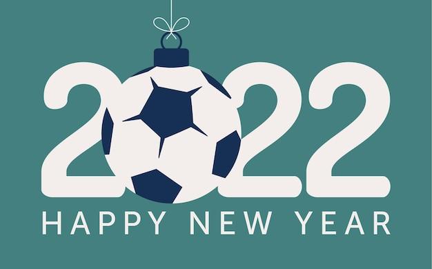 2022 счастливый новый год футбол векторные иллюстрации. плоский стиль спортивная открытка 2022 года с футбольным мячом на цветном фоне. векторная иллюстрация.