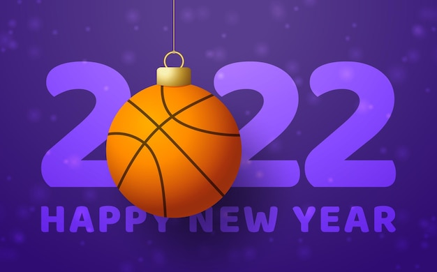 2022 happy new year. sports greeting card with a basketball ball on the luxury background with snowflake. vector illustration.