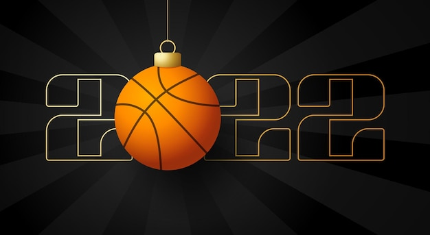 2022 happy new year. sports greeting card with golden basketball ball on the luxury background. vector illustration.