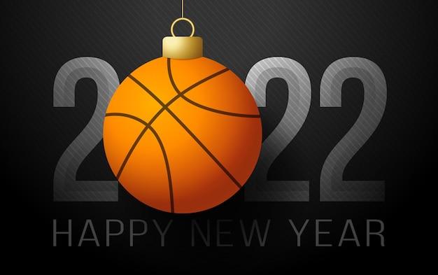 2022년 새해 복 많이 받으세요. 럭셔리 배경에 황금 농구 공 스포츠 인사말 카드. 벡터 일러스트 레이 션.