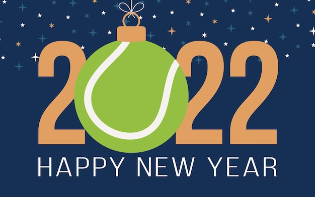 2022년 새해 복 많이 받으세요. 고급스러운 배경에 녹색 테니스 공이 있는 스포츠 인사말 카드. 벡터 일러스트 레이 션.