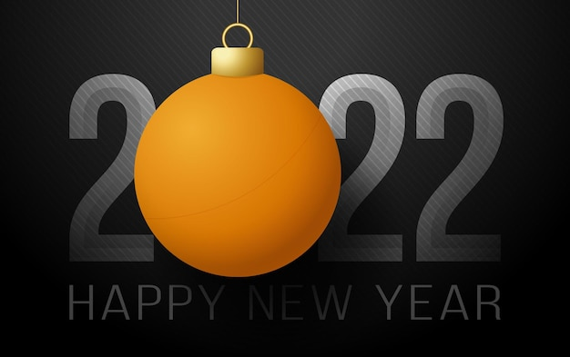 С новым 2022 годом. спортивная открытка с оранжевым мячом для пинг-понга на роскошном фоне. векторная иллюстрация.