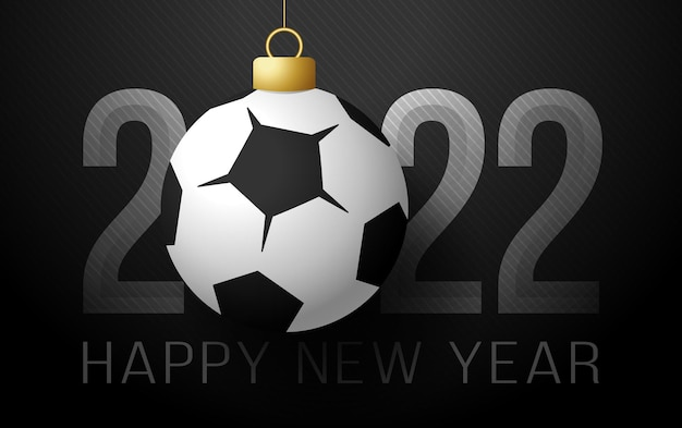 2022년 새해 복 많이 받으세요. 고급 배경에 축구와 축구 공 스포츠 인사말 카드. 벡터 일러스트 레이 션.