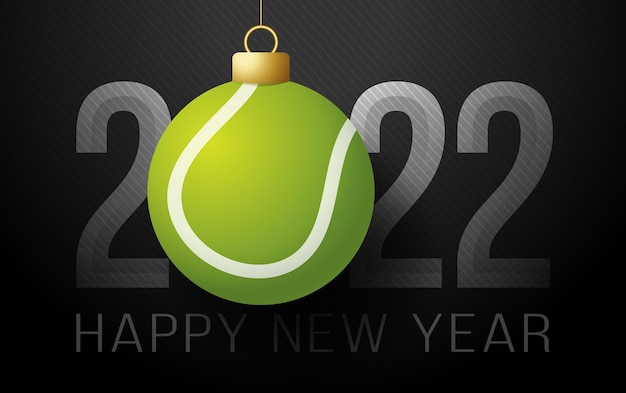 2022년 새해 복 많이 받으세요. 고급스러운 배경에 테니스 공이 있는 스포츠 인사말 카드. 벡터 일러스트 레이 션
