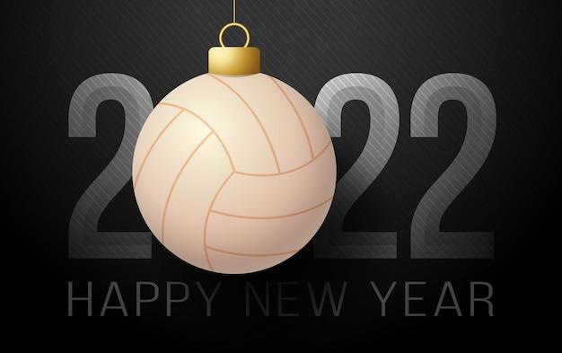 2022년 새해 복 많이 받으세요. 럭셔리 배경에 배구 공 스포츠 인사말 카드. 벡터 일러스트 레이 션.