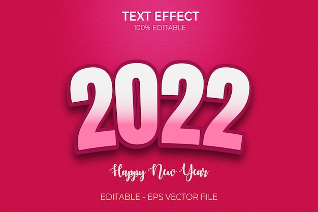 2022 с новым годом текстовый эффект креативный 3d редактируемый полужирный стиль текста премиум векторы