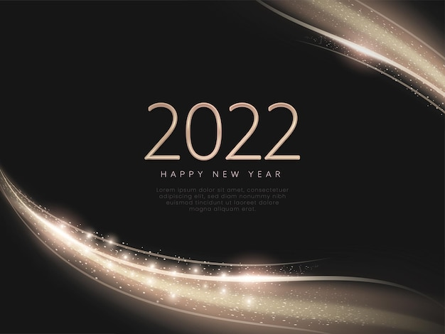 2022 happy new year text with light effect abstract wave over black background.