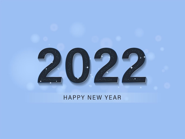 Текст с новым годом 2022 со звездами на синем фоне.