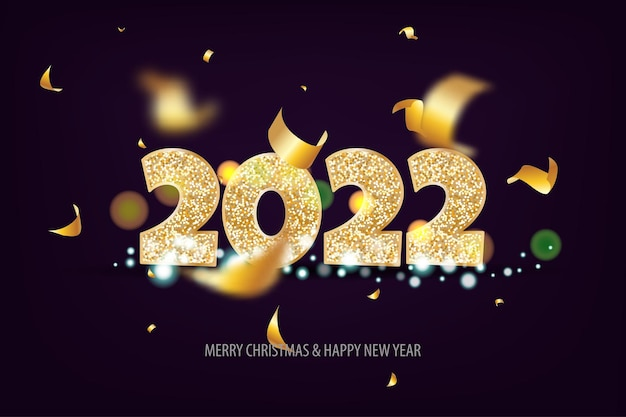 2022 happy new year. tradicional lettering text for happy new year or merry christmas. holiday background with golden bokeh number 2022. dark vector illustration