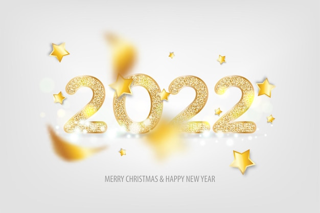 2022 happy new year. tradicional lettering text for happy new year or merry christmas. holiday background with golden bokeh number 2022. light vector illustration