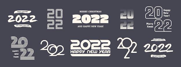 2022 새 해 복 많이 받으세요 다양 한 로고 배경에 고립 된 레트로 색상에서 다른 변형 인쇄 술 디자인 서식 파일 설정