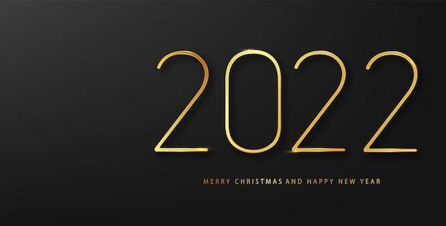 2022년 새해 복 많이 받으세요 벡터 배경에는 황금색 선물 활, 색종이 조각, 흰색 숫자가 있습니다. 겨울 휴가 인사말 카드 디자인 서식 파일입니다. 크리스마스와 새해 포스터