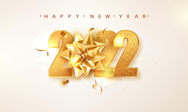 2022 happy new year vector background with golden gift bow, confetti, white numbers. winter holiday greeting card design template. christmas and new year posters