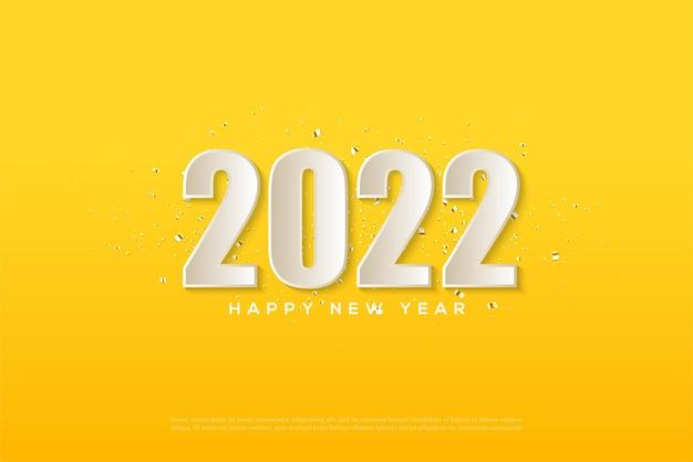 黄色の背景に白い数字で2022年明けましておめでとうございます