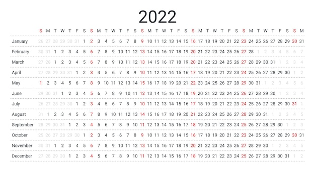 2022 linear calendar. yearly planner template. vector illustration.