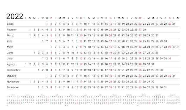 2022年の線形スペイン暦。年間の水平プランナー。年間カレンダーテンプレート。