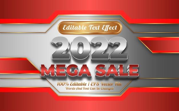 2022 мега распродажа текстовый эффект золотой стиль