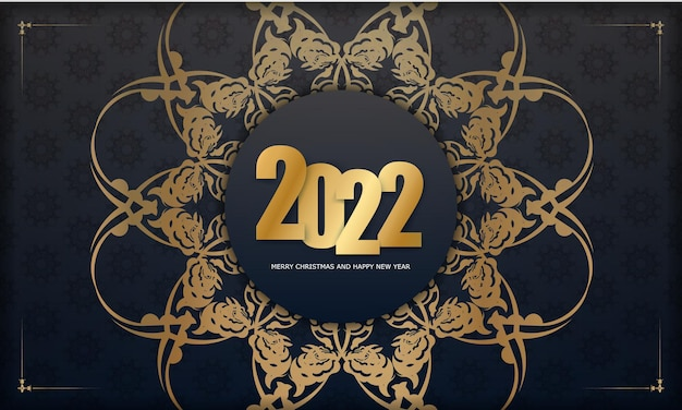 2022 merry christmas and happy new year black color greeting card template with winter gold pattern