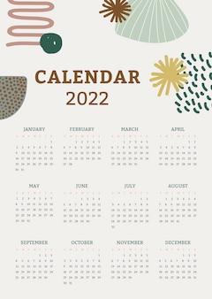 Modello di calendario mensile 2022, vettore di design floreale di memphis
