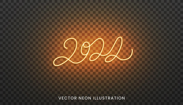 2022 neon lettering. bright orange sign for new year 2022.