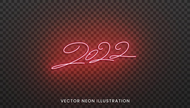 2022 neon lettering. bright red sign for new year 2022.