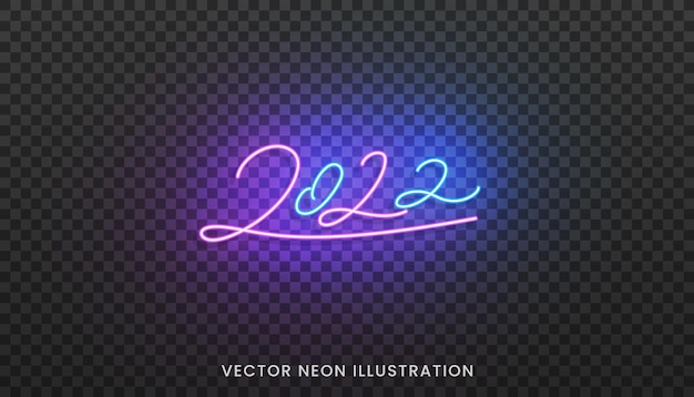 2022 neon script. bright colorful sign for new year 2022.