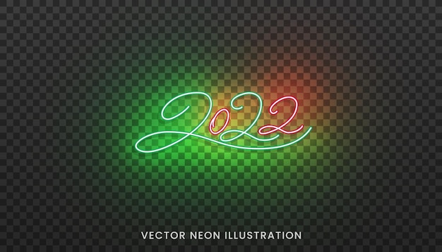2022 neon script numbers. bright colorful sign for new year 2022.