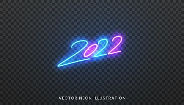 2022 neon sign. bright blue script lettering for new year 2022.