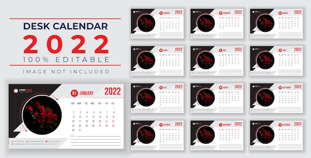 2022 new desk and wall calendar design with creative and dynamic shapes for printready design