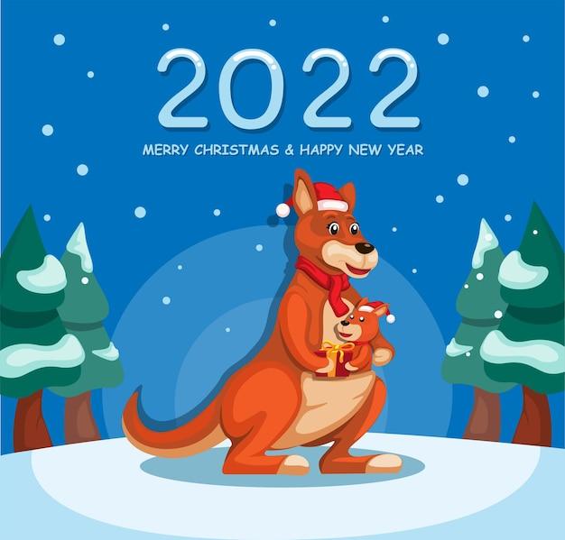 캥거루 만화 일러스트 벡터와 함께 2022 새해와 크리스마스 축하