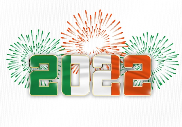 2022 new year background with national flag of ireland and fireworks