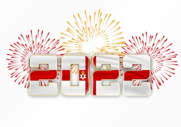 2022 new year background with national flag of nothern ireland and fireworks