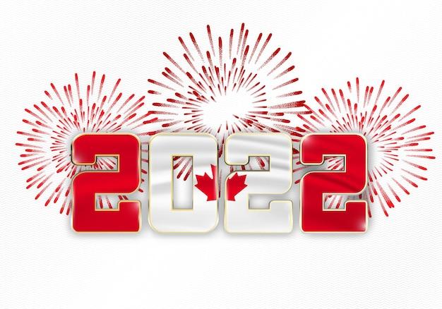 Новогодний фон 2022 года с национальным флагом канады и фейерверком